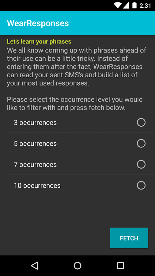 WearResponses- screenshot