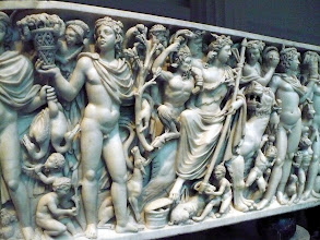 Photo: Marble sarcophagus with the Triumph of Dionysos and the Seasons.  Late Imperial, Gallienic, ca. A.D. 260–270, Roman. Marble.  http://www.metmuseum.org/Collections/search-the-collections/130015320