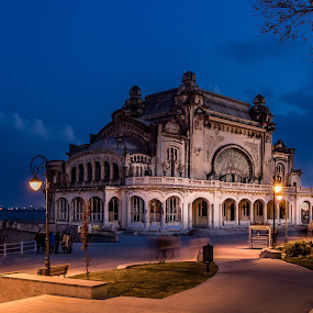 Constanta Casino by Adrian Ioan Ciulea - Buildings & Architecture Public & Historical ( lights, building, blue hour, sea, casino, old building, street lights, decay, abandoned, , city at night, street at night, park at night, nightlife, night life, nighttime in the city )