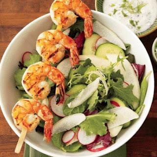 Grilled Shrimp Salad With Creamy Garlic Dressing