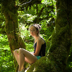 Little elf by Anne-Cecile Pflieger - Babies & Children Child Portraits ( hanging out, single, peaceful, moss, quiet, sunlight, people, kid, child, annececilegraphic, girl, tree, sitted, nature, timeless, alone, lonely,  )