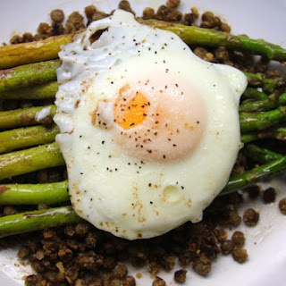 Browned Butter-Balsamic Asparagus with Crispy Lentils and Fried Egg