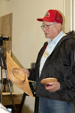 Photo: Bob talks about his box that played the roll of propeller on the lathe.