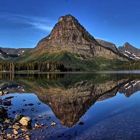 Two Medicine Lake by Randi Hodson - Landscapes Mountains & Hills ( reflection, mountains, trees, lake,  )