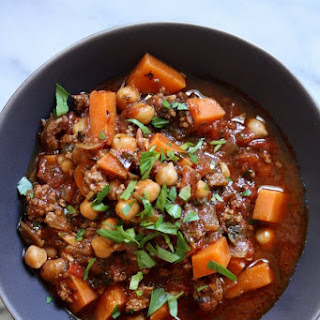 Moroccan Lamb Chili with Sweet Potatoes, Chickpeas and Kale.