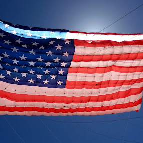 Flying Old Glory by Ann Marie - Artistic Objects Other Objects ( flying, red, flag, blue, american, kite, white )