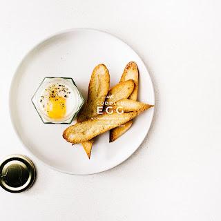 Mashed Potatoes, Soft Coddled Egg and Toast.