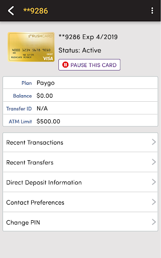 RushCard screenshot