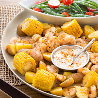 """Southern-Style Shrimp """"Boil"""" with Corn, Potatoes & Green Bean Salad."""