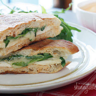 Chicken Panini with Arugula, Provolone and Chipotle Mayonnaise.