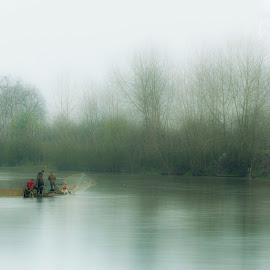 Fishermans on river. by Alireza Zahiri sorouri - Landscapes Waterscapes ( river, travel, fisherman, landscape, fog )