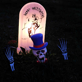 Happy Halloween by Karen Carter Goforth - Public Holidays Halloween ( spooky, skeleton, halloween, light, grave, ground, dead, scary, decoration,  )