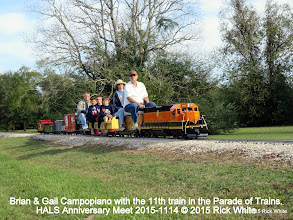 Photo: Brian & Gail Campopiano with the 11th train in the Parade of Trains.   HALS Anniversary Meet 2015-1114 © 2015 Rick White