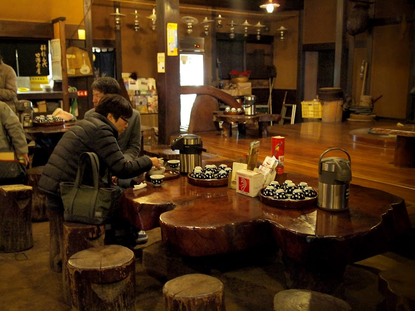 The cozy interior of Amazake-chaya