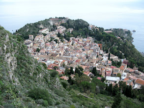 Photo: Taormina, looking right down from the Sanctuary of Madonna della Rocca