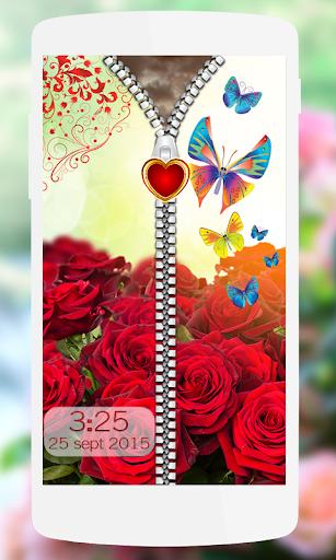 Red Rose Zipper Screen Lock