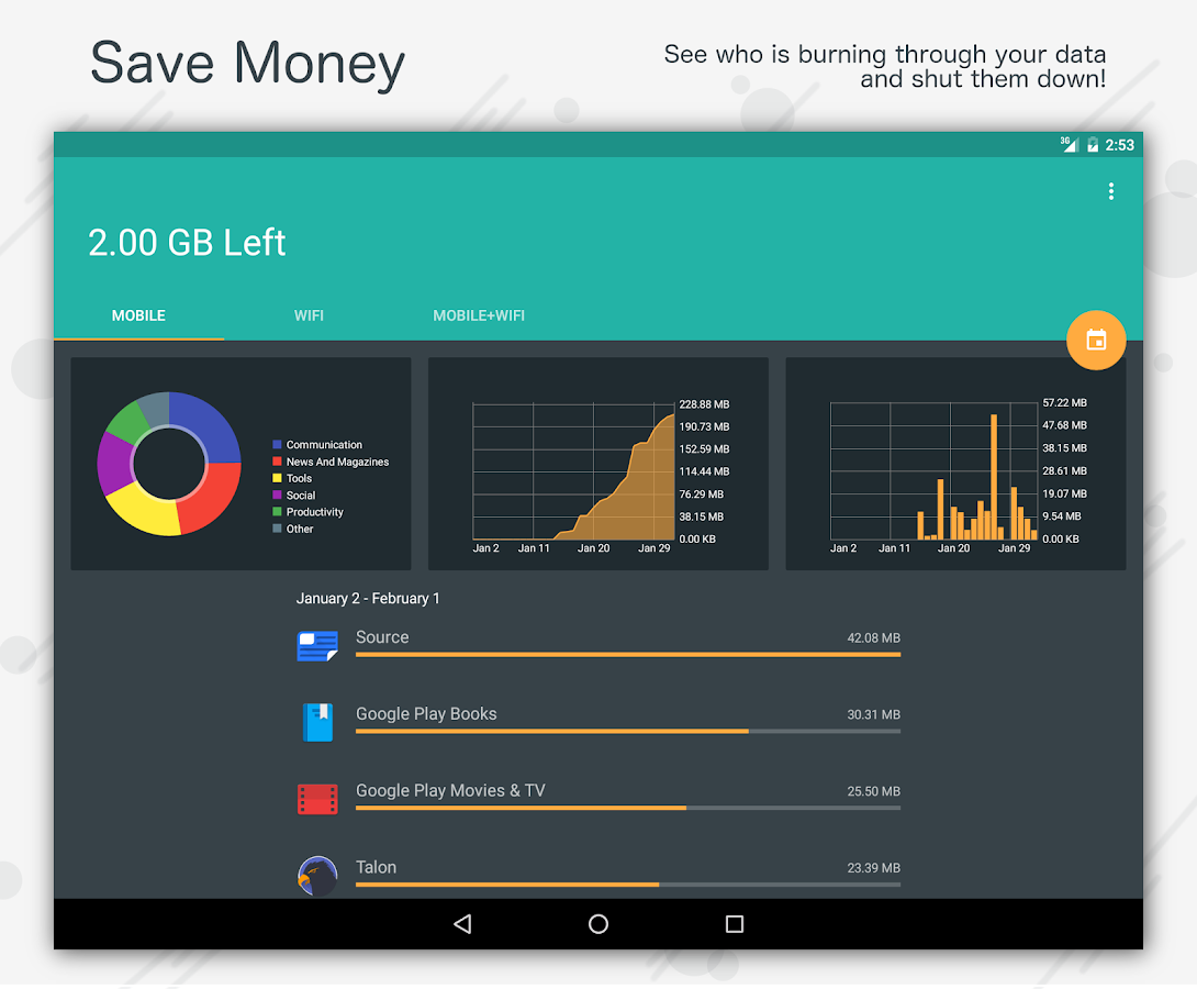 Mobile Data Usage - Save Money- screenshot