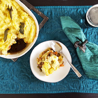Sage & Brown Butter Mashed Potato Shepherd's Pie with Guinness, Bacon, & Beef Filling.