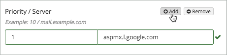 The Add button above the MX record is selected.