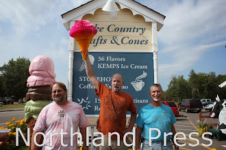 Photo: The adult category of the Lake Country Crafts and Cones Ice Cream Eating Competition had the most competitors. Adam Dahlen (center), 36, of Heartland, took first; Rick Dopp (left), 40, of Delevan, Minn took second; and Gil Statz (right) 64, of Pierz, took third.