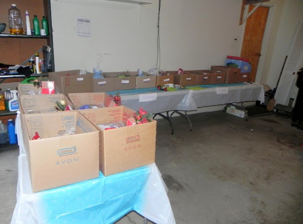 We set up the boxes for distribution out in the garage on tables.