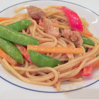 Easy Asian Peanut Chicken Noodles.