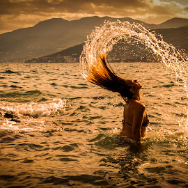 Summer came back by Jurica Žumberac - People Portraits of Women ( woman, reflection, wet, portrait, water, sea, summer, water drops, outdoor, seascape, drops, hair, seascapes, sunset, silhouette, model )