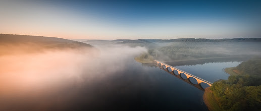 Photo: Late #summer morning in the #Sauerland region in western #Germany   with #fog over the #Verse #dam . The best moments if you manage to get up early :-)    #Sunrise #Sonnenaufgang #Lüdenscheid #märkischerkreis #aerialphotography #Luftbilder #DJI #Phantom2 #Vision #Talsperrre
