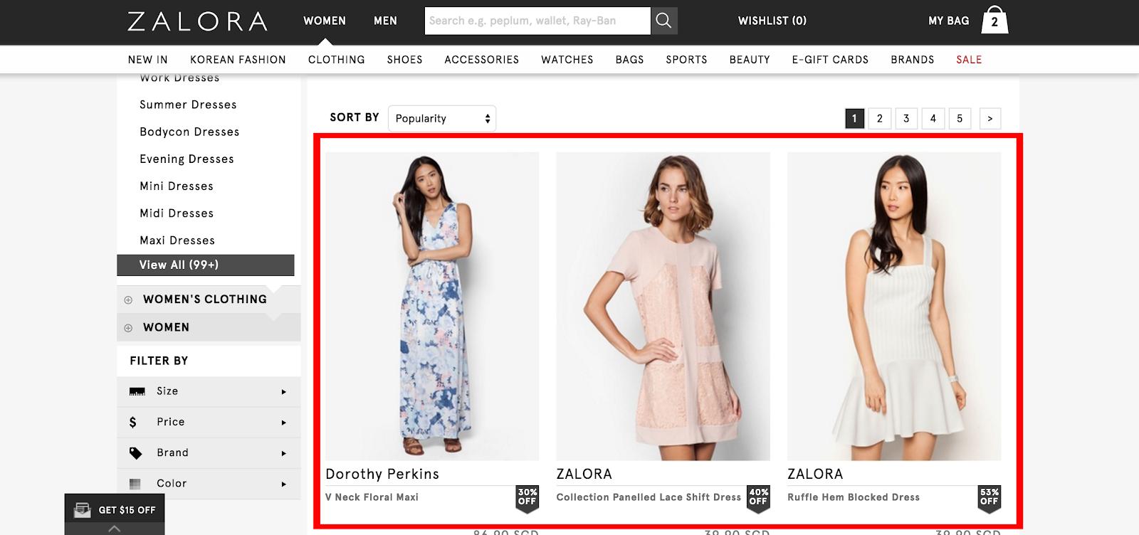 Zalora product search