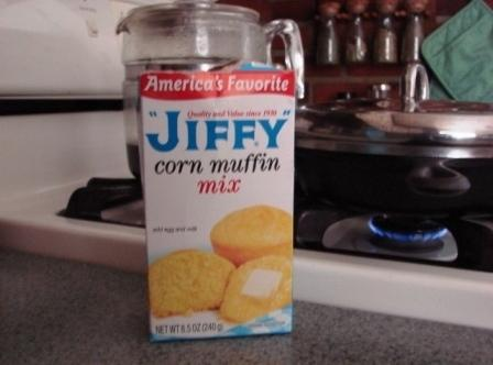 In a large bowl - mix all ingredients well.    I use Jiffy Cornbread...