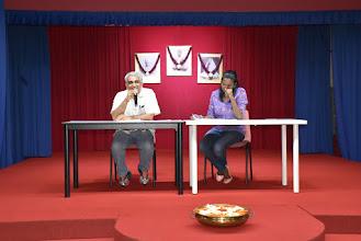 Photo: President Mr Giridhar Nayak and Secretary Mrs Kala on the dais.