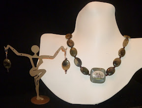 Photo: <BEREHYNYA> {Great Goddess Protectress} unique one-of-a-kind statement jewellery by Luba Bilash ART & ADORNMENT  FAITH - ВІРА - hand-painted ceramic pendant, jasper, moss agate, red garnet, SS $175/set * Аvailable at Oseredok Boutique, Winnipeg