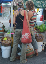 Photo: Emma & Wes, Vegan Raw Food chefs, at Whitefish MT Farmers Market.