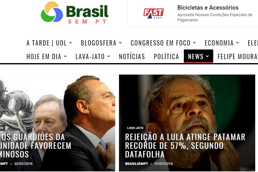 Omissão. Data da publicação só é visível na página principal do site Brasil sem PT