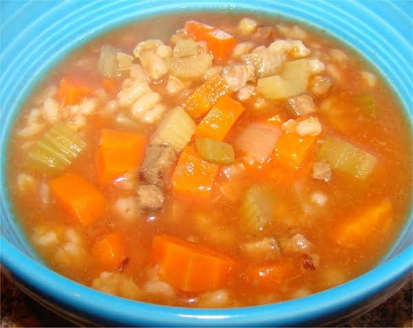 Meaty Veg And Barley Soup By Maggie Recipe