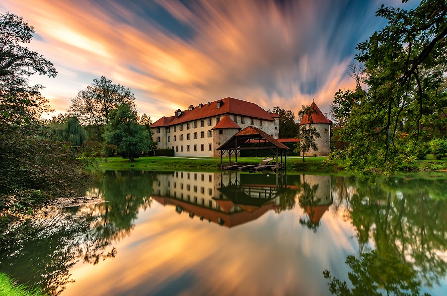 Otočec by Tomaž Mikec - City,  Street & Park  Vistas ( sky, reflection, nature, dusk, night, water, house, summer, outdoors, sunset, river, lake, landscape, architecture, scenics )