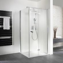 Duschkabinen_19 Exklusiv Drehfalttür mit Seitenwand, geschlossen