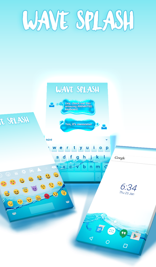 Wave Splash Animated Keyboard- screenshot