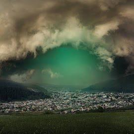 vortexy by Robert Ungurianu - Digital Art Places ( lightning, town, night, clouds, night photography )