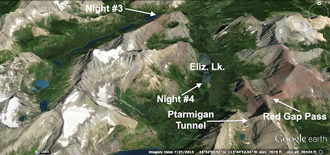 Photo: This image shows our third and fourth night campsites. The night #3 arrow should be pointing at the lower end of Glenns Lake, not the lower end of Cosley Lake.