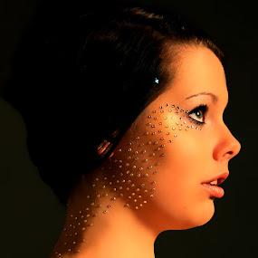 Mystery  by Ellason Boyle - People Portraits of Women ( gems, mystery, diamonds, silver, dark, shelby, sparkle, light, glitter, black )