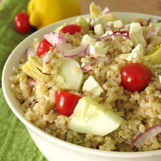 Greek Quinoa Salad with Red Wine Vinaigrette.