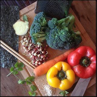 Fully Raw Vegetable Sushi.