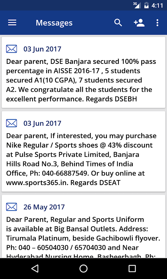DSE Parent Portal- screenshot