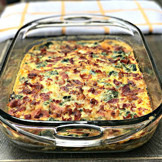 Low-Carb Bacon, Egg, and Spinach Breakfast Casserole.