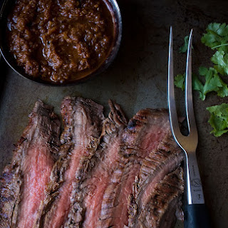 Cumin Marinated Grilled Flank Steak with Salsa.