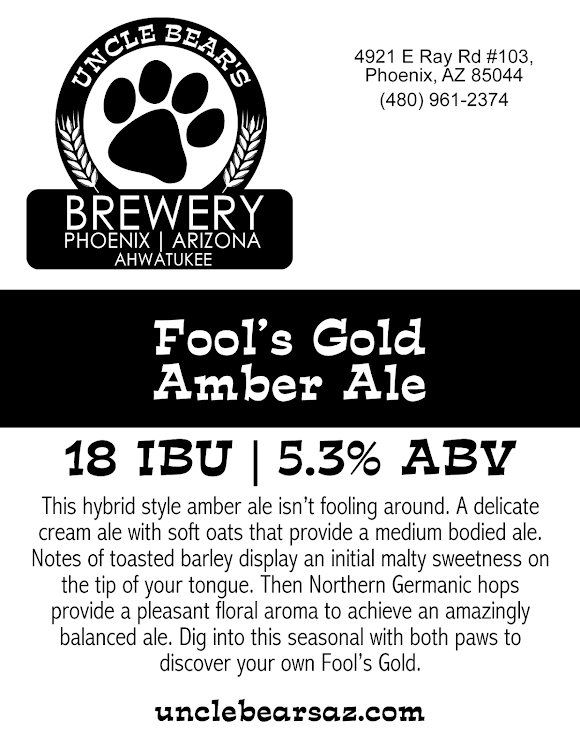 Logo of Uncle Bear's Fool's Gold Amber Ale