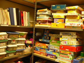 Photo: Clinic materials room where therapy resources are kept to aide in diagnostic and intervention sessions.