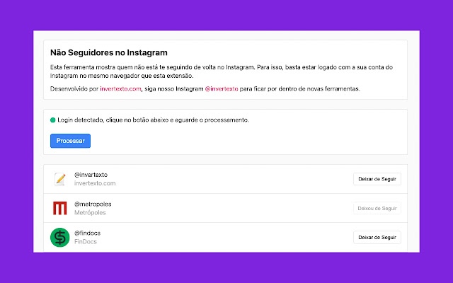 Não Seguidores no Instagram