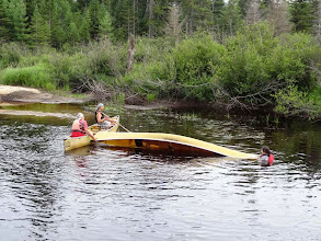 Photo: Dan, Lisa, and Holly staged some rescue drills for Lisa's open canoe instructor certification.